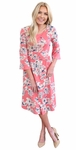 """Naomi"" Bell Sleeve Modest Dress in Coral w/Floral Print"