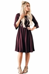"""Naomi"" Bell Sleeve Modest Dress in Burgundy Plum"