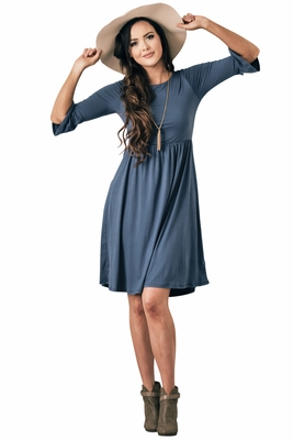 """Naomi"" Ruffled Sleeve Modest Dress in Chambray Blue"