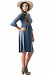Naomi Bell Sleeve Modest Dress in Chambray Dusty Blue or Steel Blue