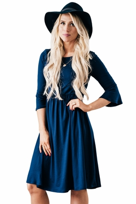 """Naomi"" Bell Sleeve Modest Dress in Navy Blue"