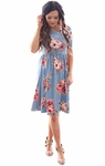"""Natalie"" Modest Dress in Dusty Blue w/Floral Print"