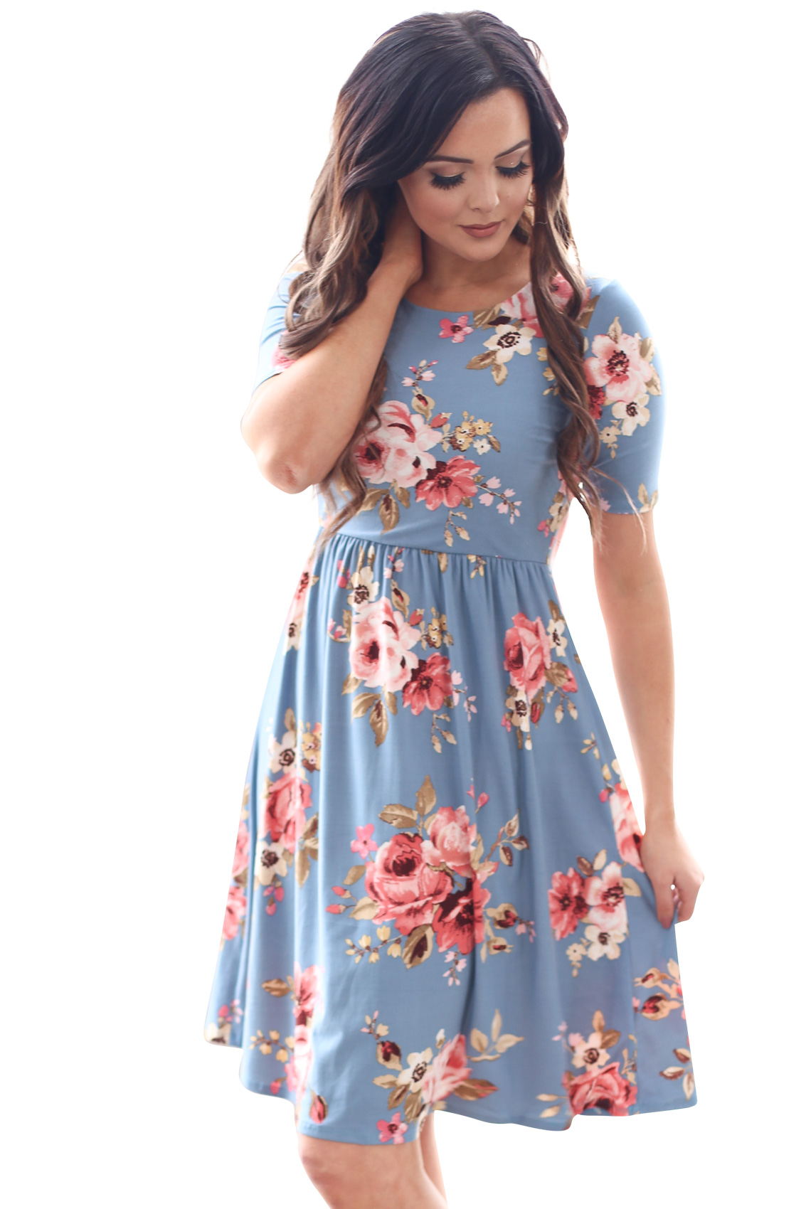 bc55a37f2021 Natalie Modest Dress in Bright Blue w/Multicolored Floral Print