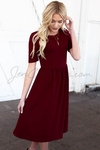 """Natalie"" Modest Dress in Burgundy Crepe"