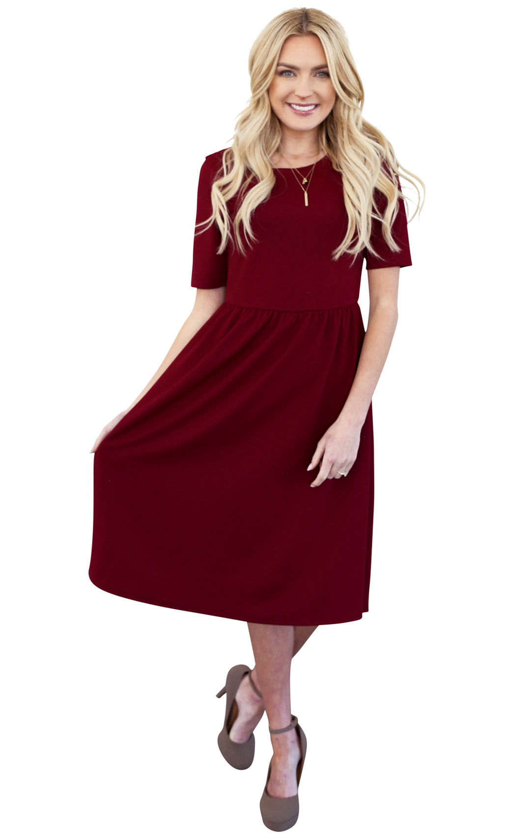 3c6d2d4352d9 Natalie Modest Dress in Burgundy (Dark Red)