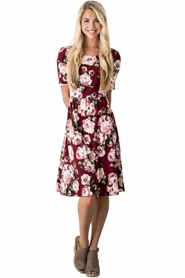 """Natalie"" Modest Dress in Burgundy w/Floral Print"