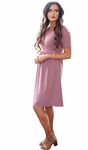 """Natalie"" Modest Dress in Lilac Crepe"