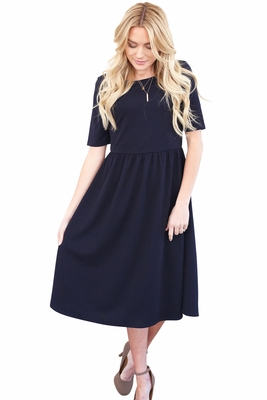 """Natalie"" Modest Dress in Navy Blue Crepe, Dark Blue"