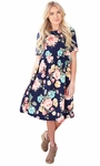 """Natalie"" Modest Dress in Navy w/Floral Print"
