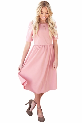 """Natalie"" Modest Dress in Pink Crepe"