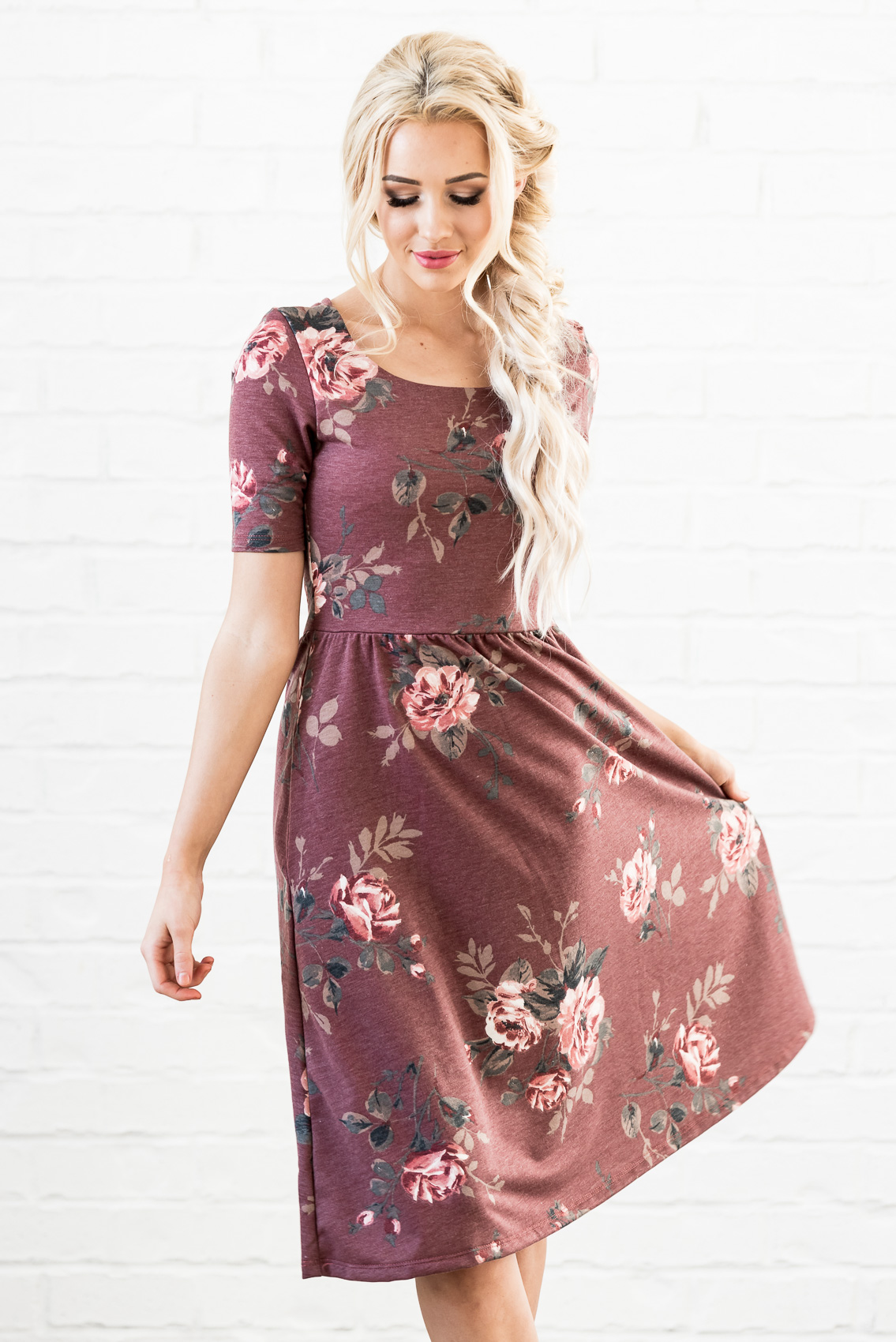 da2525649dcd ... Natalie Modest Dress in Red Bean (aka Dusty Burgundy or Maroon) with Floral  Print ...