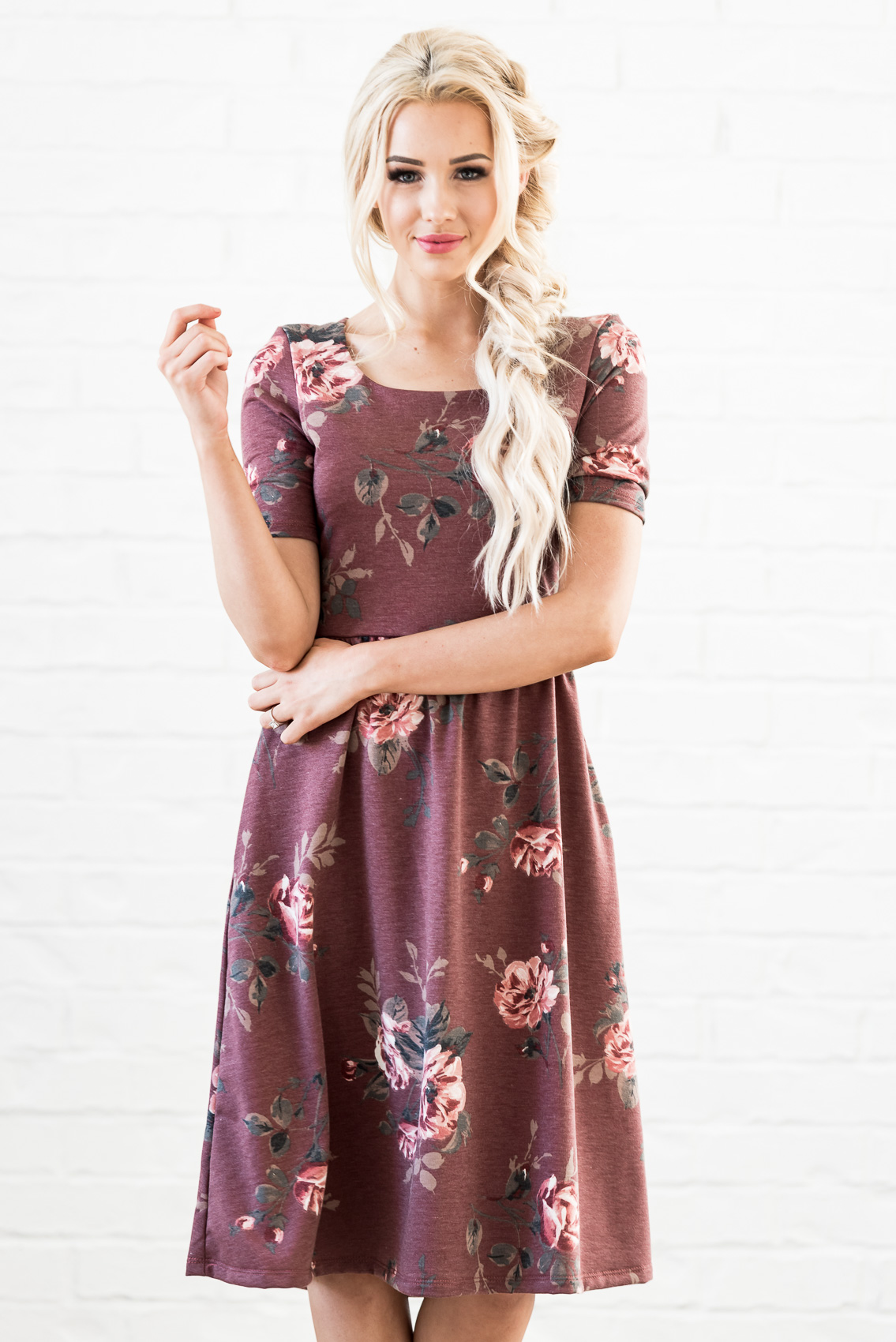 d9464980f6c5 ... Natalie Modest Dress in Red Bean (aka Dusty Burgundy or Maroon) with Floral  Print