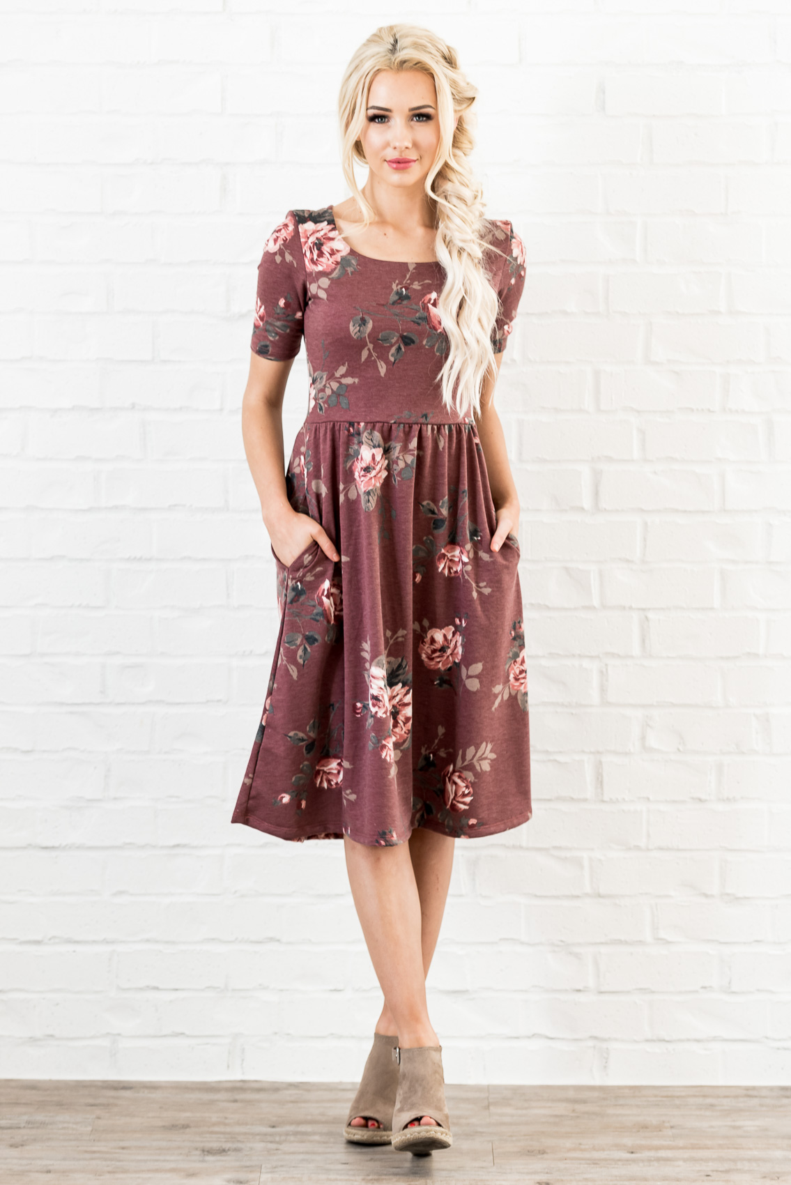 237f2641c39a Natalie Modest Dress in Red Bean (aka Dusty Burgundy or Maroon) with Floral  Print ...