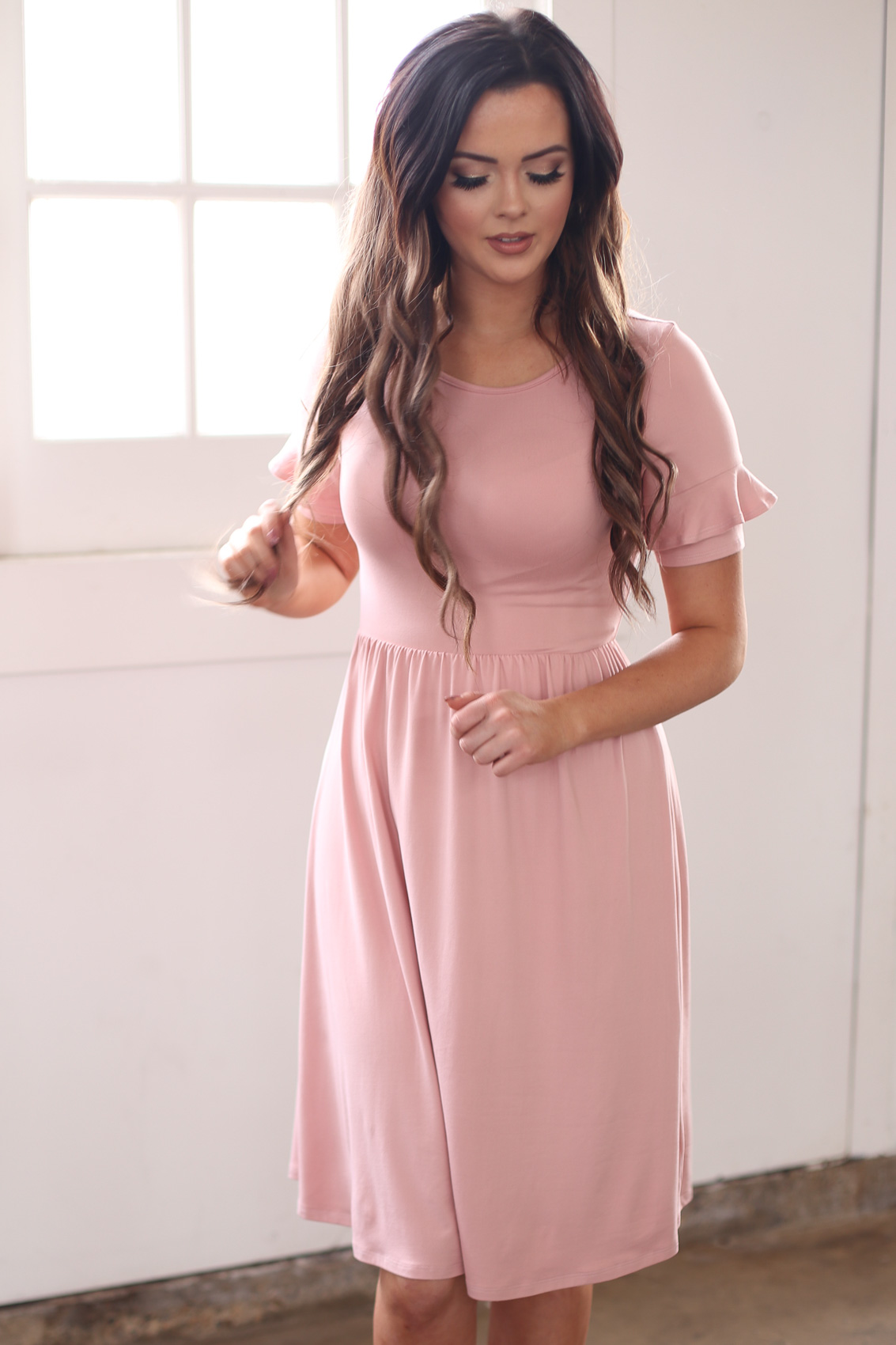 3a3249cd75fe1 Nessa Modest Dress or Modest Bridesmaid Dress in Pink (Dusty Rose)