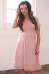 """Nessa"" Modest Dress in Dusty Rose Pink / Blush Pink"