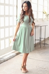 """Nessa"" Modest Dress in Mint Sage Green"