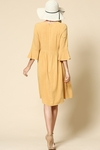 Nora Woven Modest Dress w/Bell Sleeves in Mustard Yellow