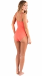 """Oceanside Café"" One-Piece Modest Swimsuit in Pink Umbrella"