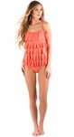 """Oceanside Caf�"" One-Piece Modest Swimsuit in Pink Umbrella"