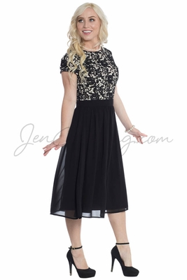 """""""Olivia"""" Lace & Chiffon Modest Cocktail Dress in Black"""