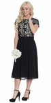 Olivia Lace & Chiffon Modest Cocktail Dress or Holiday Dress in Black