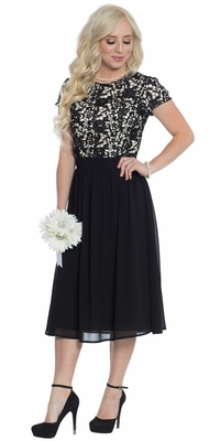 Olivia Lace & Chiffon Modest Prom Dress or Cocktail Dress in Black