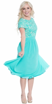Olivia Modest Prom / Bridesmaid Dress in Turquoise, Tiffany Blue, Aqua