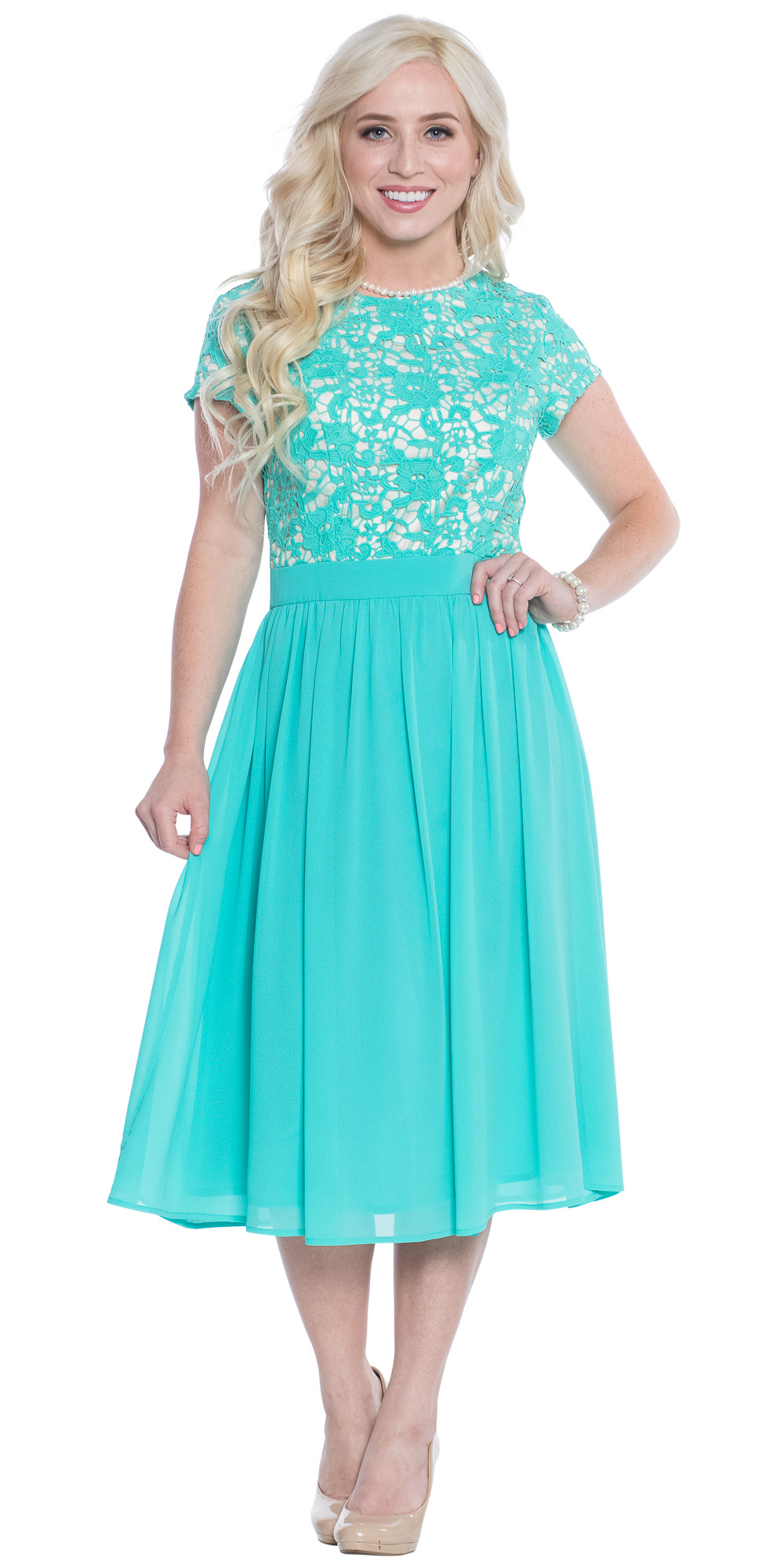 Semi formal modest bridesmaid dress in turquoise blue for Aqua blue dress for wedding
