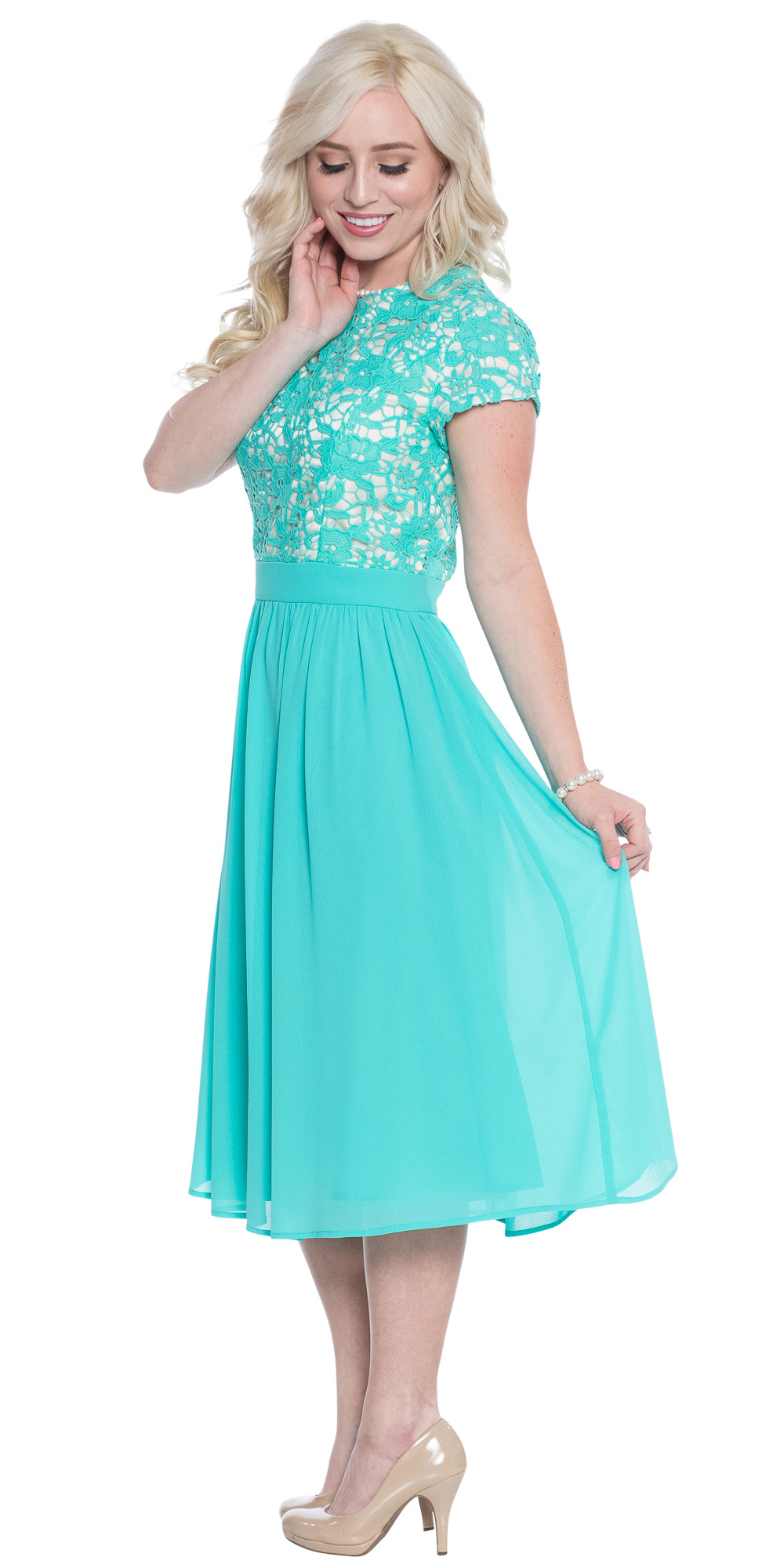 Semi-Formal Modest Bridesmaid Dress in Turquoise Blue, Tiffany Blue ...
