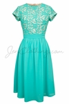 """""""Olivia"""" Lace & Chiffon Modest Dress in Blue Turquoise"""