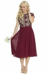 Olivia Lace & Chiffon Modest Dress in Burgundy Wine