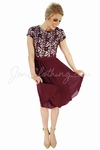 """Olivia"" Lace & Chiffon Modest Dress in Wine (Burgundy) *RESTOCKED*"