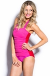 One-Piece Halter Swimsuit in Color Block