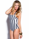 One-Piece Halter Swimsuit in Vertical Charcoal Stripe