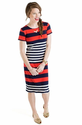 """""""Paige"""" Modest Dress in Nautical Stripes"""