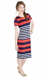 """Paige"" Modest Dress in Nautical Stripes"