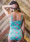 """Paige"" One-Piece Swimsuit in Mint Floral Print"