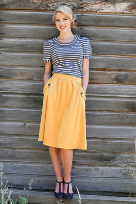 Modest Full Skirt In Mustard Yellow