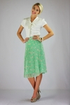 """""""Pleated Chiffon"""" Modest Skirt in Mint Floral Print"""