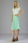 """Pleated Chiffon"" Modest Skirt in Mint Floral Print"
