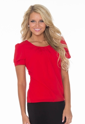 """Pleated Collar"" Top in Red *Final Sale*"