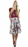 Pleated Modest Skirt in Gray w/Pink Floral Print