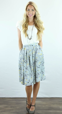 Pleated Full Modest Skirt in Gray w/Yellow Floral Print