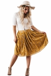 Knee-Length Modest Skirt in Mustard Yellow w/Floral Print
