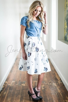 Pleated Full Modest Skirt in White w/Blue Floral Print
