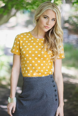 Polka Dot Modest Sweater Top in Mustard