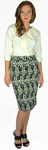 Printed Pencil Skirt in Cream & Black Floral Print