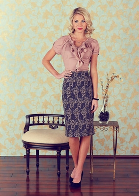 Printed Pencil Skirt in Grey & Rose Floral Print