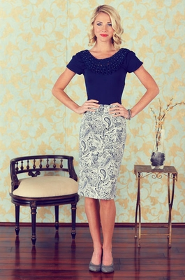 Printed Pencil Skirt in Navy & Cream Paisley Print
