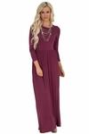Quinn Long Sleeve Modest Maxi Dress in Maroon / Dark Rose / Burgundy